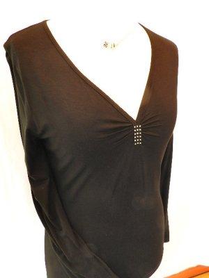 Camisa con cuello V negro-color plata Viscosa