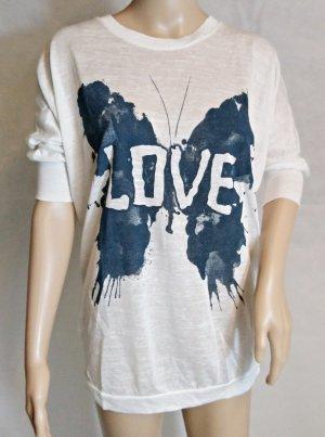 Bodyflirt T-Shirt white-dark blue viscose