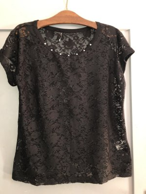 Laura Torelli Mesh Shirt black-gold-colored