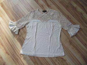 Damen Shirt m. Spitze, Cremeweiß, Pompöös, Gr.48, (51-BHB)