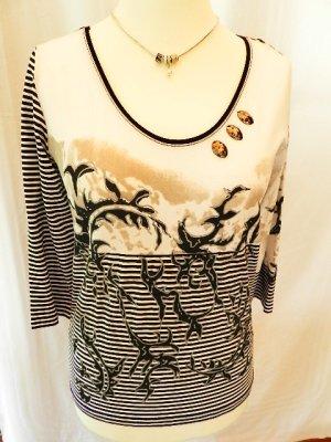 Camisa de cuello barco negro-blanco Viscosa