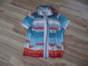 Damen Shirt mit Reißverschluß, Gr.46, türkis-bunt, Amy Vermont (43-BHB)
