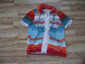 Damen Shirt mit Reißverschluß, Gr.48, türkis-bunt, Amy Vermont (44-BHB)