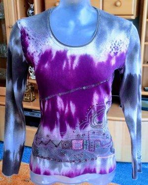 Marc Aurel Boatneck Shirt grey-violet cotton