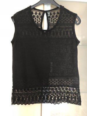 Damen Shirt Top Only Spitze Schwarz Gr 36 S Neu mit Etikett