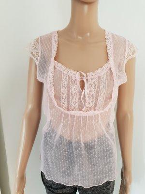 Camisa de ganchillo rosa claro