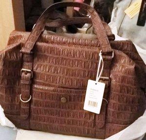 Damen Shopper Umhänge Schulter Tasche Bag Braun Neu