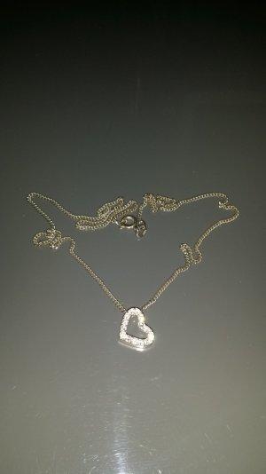 Damen Silber Kette mit Herz Anhänger