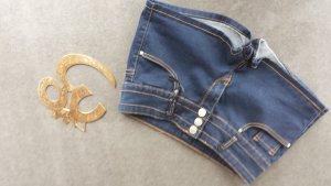 Forever 21 Pantalón corto de tela vaquera azul oscuro-camel