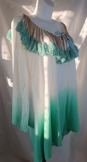 Vestido playero blanco-menta