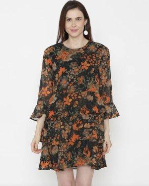Maxi-jurk zwart-oranje