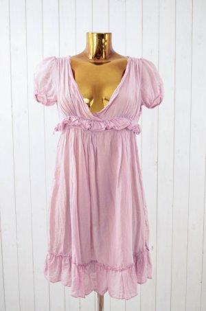 Damen Sommerkleid Kleid Sommer Rosa Reißverschluss Rüschen Baumwolle Seide Gr.38