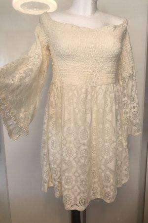Damen Spitzen Kleid Creme Weiß Neu XXL