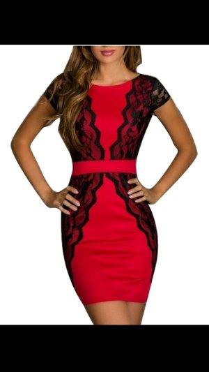Damen Spitzenkleid Partykleid in Rot-Schwarz gr.S M.