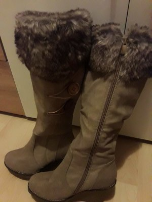 Damen Stiefel gefüttert Boots Keilabsatz High Heels