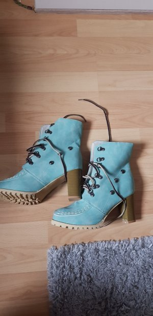 Lace-up Booties turquoise