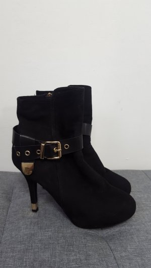 Peep Toe Booties black-gold-colored