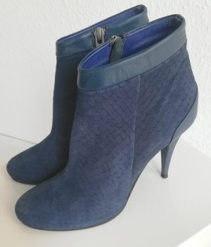 0039 Italy Zipper Booties blue leather