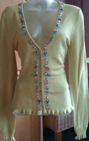 Damen strick Jacke aus Seide+Wolle mit Glitzer Steine Gr.38 in Grün von Kapalua