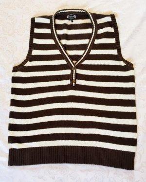 Cecilia Classics Fine Knitted Cardigan natural white-dark brown cotton