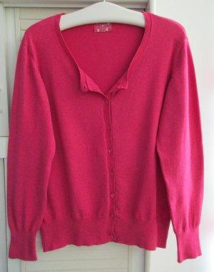 Damen Strickjacke Cardigan Langarm uni pink 80% Baumwolle Gr. 48