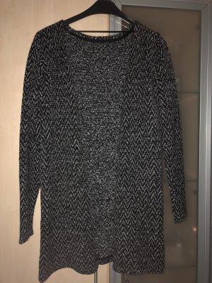 Smanicato lavorato a maglia nero-grigio scuro