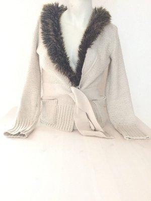 Damen Strickjacke Von Biba Gr. XS mit Fellkragen