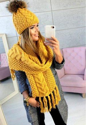 Damen Strickschal Blogger Schal Stola Überwurf Poncho Cape in senf mit Fransen