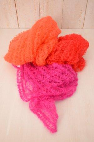 Damen Strickschal Schal Strick Pink Rot Orange Handgemacht Mohair Seide Sylt