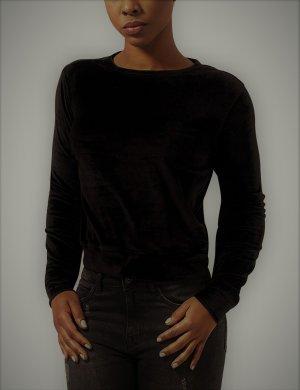 Damen Sweatshirt Ladies Short Velvet Crew