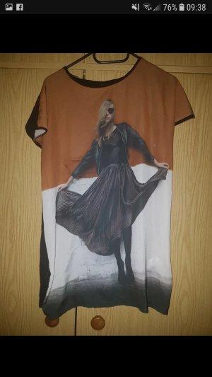 Zara T-shirt noir-brun