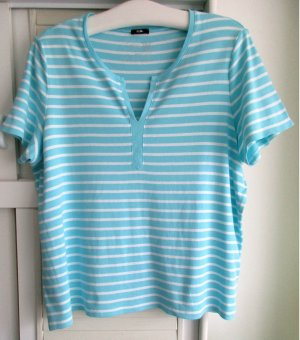 Damen T-Shirt hellblau weiß