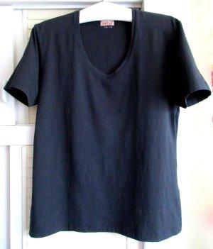 Damen T-Shirt Stretch Baumwolle V-Ausschnitt uni blau nachtblau dunkelblau