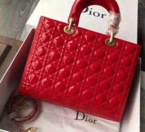 Christian Dior Sac à main doré-rouge