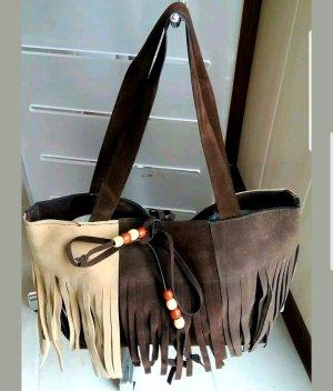 Fringed Bag brown-beige