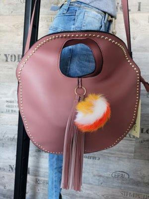 DAmen Tasche mit BOMMEL + FEDERN Abendtasche Henkeltasche NEU Etikett ✔  Handtasche Blogger Tasche Gold Nieten Shopper Abendtasche