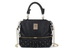 Damen Tasche MIT Geldbörse mit Logo Shwarz Gold Kette Kardashian Kollection Set
