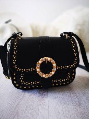 Damen Tasche NEU  ✔ Handtasche schwarz mit Nieten Perlen Schmuck + Gold Blogger Tasche Umhängetasche BLING BLING Strass Schmuck Shopper Henkeltasche Blogger Abendtasche