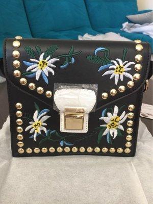 Damen Tasche Schwarz Ornament Blume Sommer Boho Klein Messenger Tasche