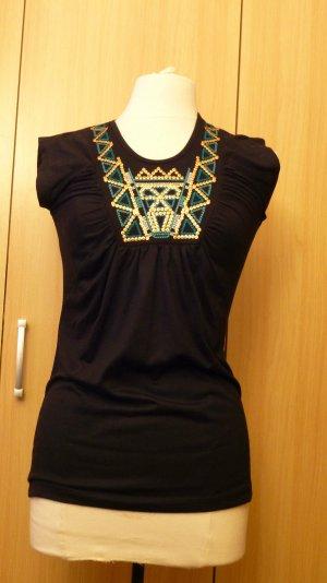Damen Top Shirt T-Shirt Wunderschöner Figurbetonter von Okay, in Schwarz Gr.34