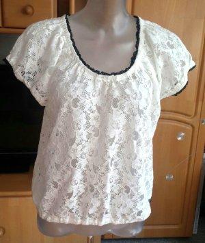 Damen Top Spitzen Shirt Gr.40 in Weiß von Livre