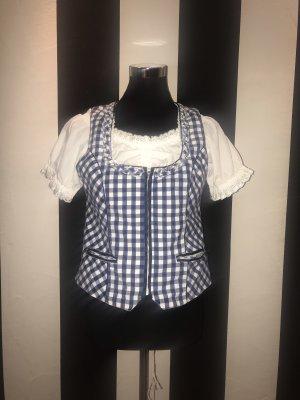 Lekra Folkloristische blouse wit-donkerblauw