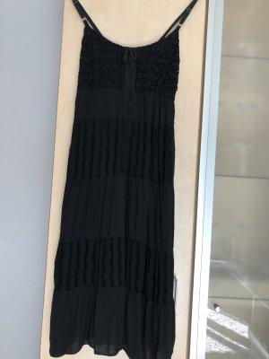 Damen Träger Häckel Kleid Sommerkleid Ibiza Schwarz Gr 36 S