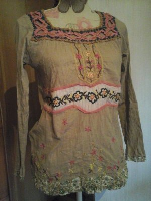 Damen Tunika Bluse Stickerei Gr. L Blumen Beige Nude Hippie Boho