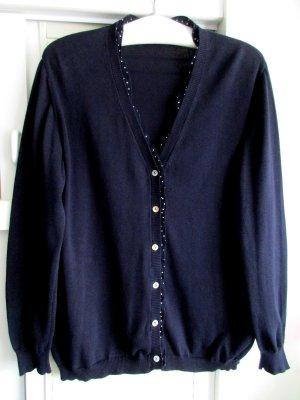 Damen Twin-Set Cardigan + Shirt nachtblau dunkelblau Rüschen uni