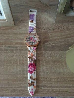 Damen Uhr Blumen Muster