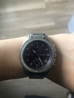 Fossil Watch With Metal Strap silver-colored-lilac
