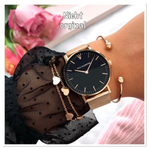 Watch With Metal Strap black-rose-gold-coloured