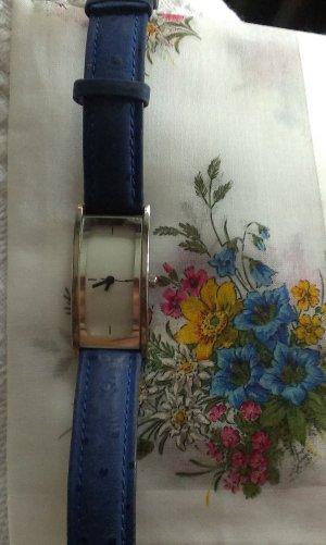 Damen Uhr, royalblaues Lederarmband