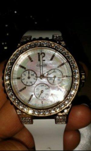 DAMEN- Uhr von Guess,  Chronograph, weiß-gold, NEU! !!